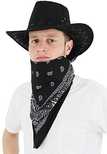 Kostüm West Wild Tanz - ILOVEFANCYDRESS Schwarzer Cowboy Hut in künstlichen Wildleder mit einem wunderschönen schwarz gemusterten Halsband