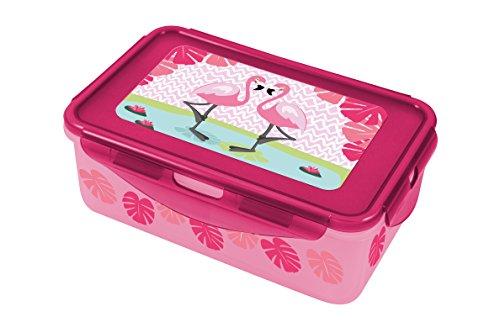 Preisvergleich Produktbild p:os 28809 - Lunch to Go Clipdose mit Flamingo Motiv,  ca. 20, 5 x 13, 5 x 7 cm