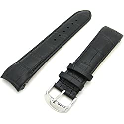 Rotary Style Black Luxury Crocodile Grain Leather Curved End Quality Generic Watch Strap Stainless Steel Buckle