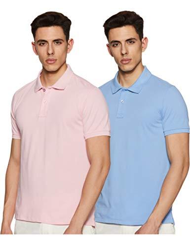 Amazon Brand - Symbol Men's Plain Regular Fit Polo (ESSPPO2D_Pink & Sky Blue_L) (Pack of 2)
