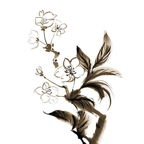 Bilderdepot24 Vlies Fototapete - Aquarell - Chinesische Blume - Vintage - 150x150 cm - mit Kleister - Poster - Foto auf Tapete - Wandbild - Wandtapete - Vliestapete - Blumen-krug Vintage