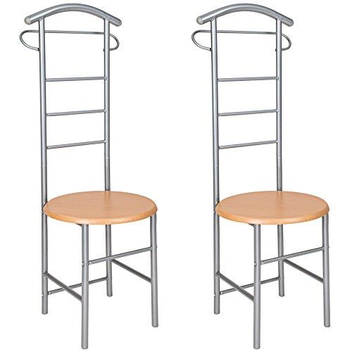 TecTake 2X Herrendiener Kleiderständer Stummer Diener Kleiderbutler mit Sitzfläche für Komfortables An- und Ausziehen