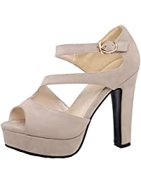 COOLCEPT Mujer Western Moda Peep Toe Tacon Alto Hueco Cordones Sandalias (32 EU, Black)