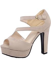 RAZAMAZA Mujer Correa Tobillo Zapatos Plataforma Peep Toe Tacones Ancho  Sandalias 967882ae765e