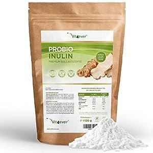 Vit4ever® Präbio Inulin Pulver – 1100 g – Hoher Ballaststoffgehalt – Präbiotikum – Laborgeprüft – Natürlich aus der Chicoree Wurzel – Ideal für Getränke, zum Kochen und Backen – 100% Vegan – Natürlich