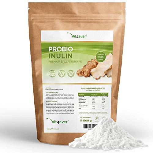 Probio Inulin Pulver - 1100 g - Hoher Ballaststoffgehalt - Präbiotikum - Laborgeprüft - Natürlich aus der Chicoree Wurzel - Ideal für Getränke, zum Kochen und Backen - 100% Vegan - Natürlich - Ohne Zusatzstoffe