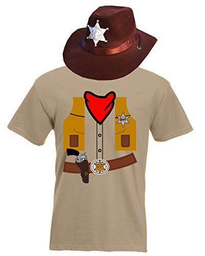 aprom T-Shirt Cowboy Kostüm Look - Krneval Mit Hut Khaki Sheriff (L)