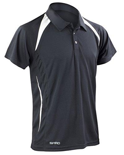 Spiro Herren Team Spirit Polo Shirt Mehrfarbig - Schwarz / Weiß