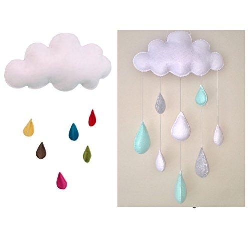 LUOEM Kinderzimmer Dekoration Wolken Regentropfen Hängende Deko Babyparty - 5