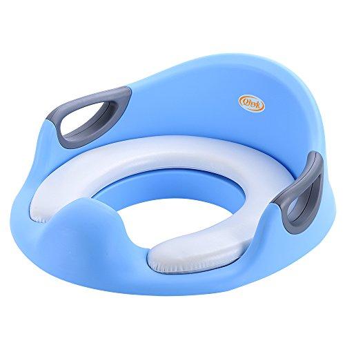 Toiletten-Training-Sitz, Toilettensitze für Kinder Baby, Töpfchentrainer Jungen oder Mädchen, seitliche Haltegriffe, gepolsterte Sitzfläche, mit Spritzschutz, sichere rutschfeste, blau