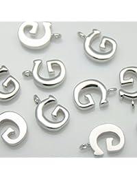 b8d18cbd57b3 2 piezas de brillante brillante plata inicial alfabeto  apos G apos   colgantes encantos conectores enlaces