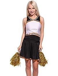 Surepromise Womens High School Cheer Girl Top Skirt Panty Glee Cheerleader Uniform +Pompoms