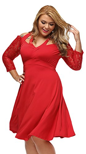 La Vogue Robe Genou Patineuse Bustier Manche Courte Dentelle Grande Taille Rouge
