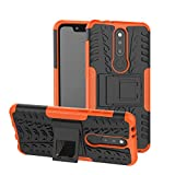 YFXP Nokia 5.1 Plus/Nokia X5 Hülle,Nokia 5.1 Plus/Nokia X5 Tasche Robuste Starke Markante Stoßfeste Panzer-Hülle Für Nokia 5.1 Plus/Nokia X5 Mit Panzerglas Orange