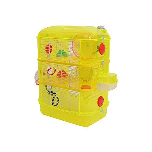 PawHut® Hamsterkäfig Nagerkäfig Mäusekäfig Hamster Nager Käfig Stall Rohrsystem (Gelb)