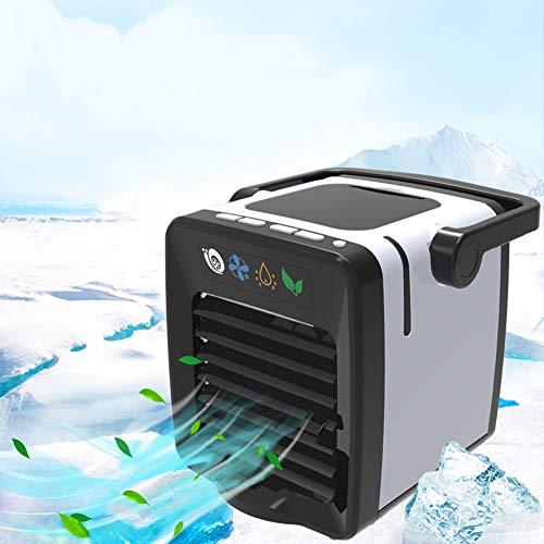 Bravoy Mini Luftkühler,Air Cooler Mobile Klimaanlage USB-Raumklimaanlage, Luftbefeuchter, Luftreiniger Tischventilator Leiser Kühler mit 7 Farben LED-Lüfter für Camping Auto Büro Zuhause (Schwarz)