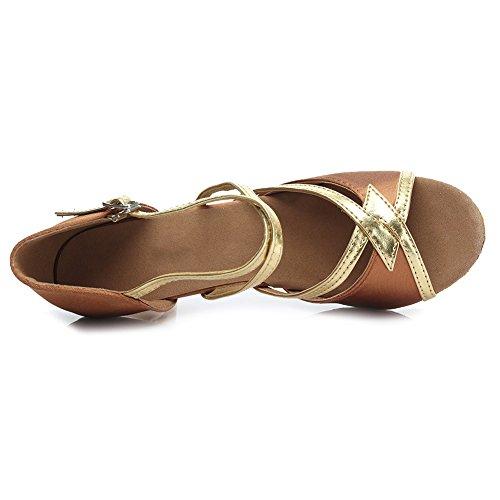 HROYL Damen Tanzschuhe/Latin Dance Schuhe Satin Ballsaal Modell-D7-225 5CM Braun