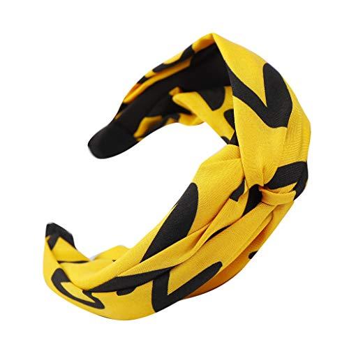 Mädchen Kostüm Fußball Niedliche - DOFENG Stirnband Damen Kopfband Haarband Turban Weiche Stirnband Blume bedruckt Verdreht Bandana kopftuch Wickeln Elegant Niedlich (A-Gelb, One size)