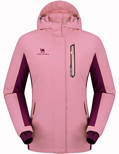 89cd80d096e7 Amazon. CAMEL CROWN Damen Wasserdichte Jacke, Winddicht Ski Fleecejacke  Winter Warme Jacken mit Kapuze, Regenjacke