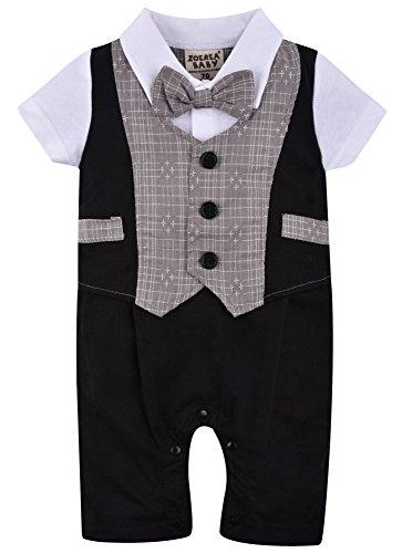 ZOEREA 1pc Kinder Baby Kleinkind Junge Kleidung Spielanzug Bodysuit Kleidung Gentleman Gesamtkind Sommer Kleidung Baumwolle Kurzarm Druck Babys Babys Taufe Hochzeit Weihnachten (0-24M)