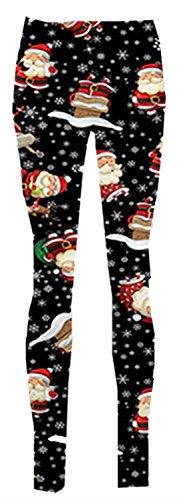 Nouveau Femmes Kaki Neige homme Cadeau Arc Bell Santa Rudolph Visage Noël Jambières 36-62 Black-Santa With Snowflakes