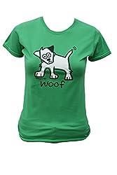 Womens 'woof' dog T.shirt. Apple Green.