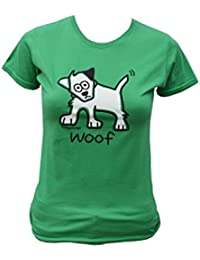 Womens 'woof' dog T.shirt. Apple Green.