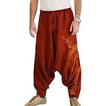 Hombre Pantalones Harem - Cómoda Cintura Elástica Pantalones con Cintura  Moda Color Sólido Casuales Yoga Hippies 3cf222bfe956