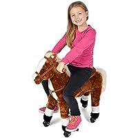 Pink Papaya Reitpferd auf Rollen, XXL 70cm Spielpferd, Schaukelpferd zur Echten Fortbewegung bis 70kg belastbar, Plüsch-Pferd mit 2 Sounds Toys preisvergleich bei kleinkindspielzeugpreise.eu
