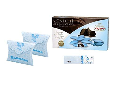 Scatoline portaconfetti bustina 25 pz + 1 kg confetti + bigliettini (battesimo celeste 81599)