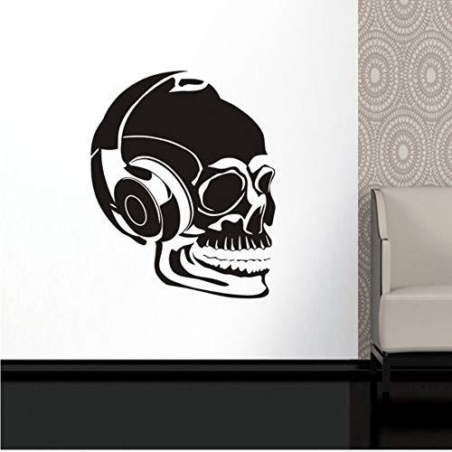Csyxmp Schädel Musik Halloween Headset Aufkleber Punk Tod Aufkleber Teufel Name Auto Kunst Wandtattoos Parede Decor Mural58 * 72 Cm