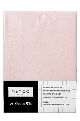 Meyco 566002 Jersey Spannbetttuch für Laufgittermatratze, Hellrosa, 75x95cm