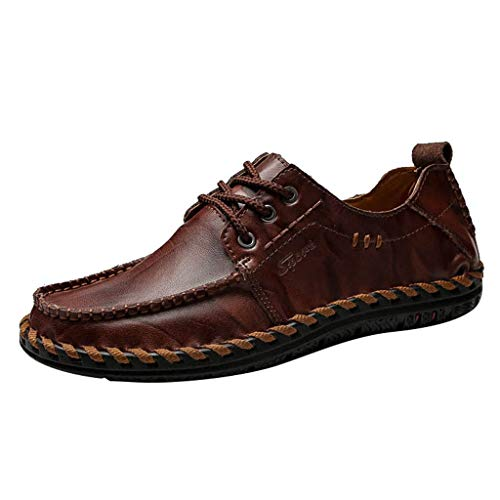 KonJin Men Leather Slip On Shoes Creative Wild Trend Handmade Wear-Resistant Shoes Loafer Flats Moccasins Walking Shoes