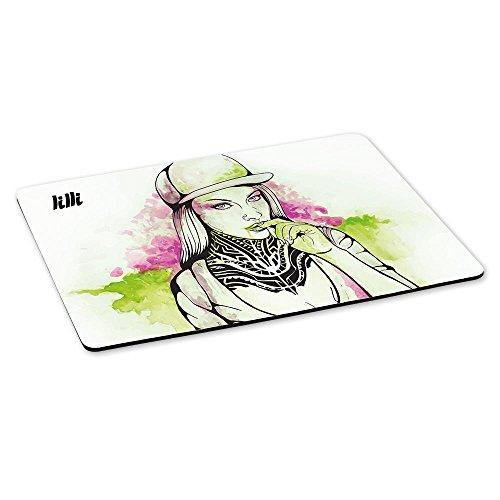 Gaming-Mousepad mit Namen Lilli und schönem Sketchbook-Motiv für Mädchen - Gamer-Mousepad | Mausmatte | Mauspad (Lilli Girl)
