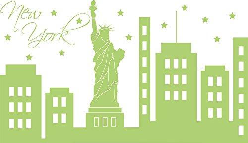 Amerika Wandteppiche (Wandsticker Wandaufkleber USA Amerika - Dekoration Wohnung modern New York - Wandtattoo Skyline Wolkenkratzer / 99x57cm / 822 Water Lilly)