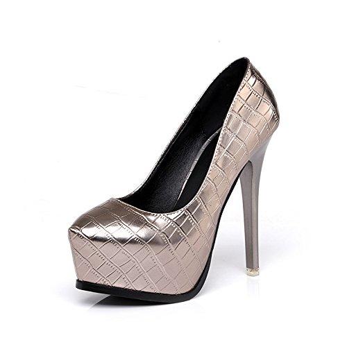 Dimaol Zapatos De Charol Para Mujer Otoño Primavera Comfort Talón Tacones De Aguja Con Punta Redonda Para Oficina Y Carrera Profesional Gris Oscuro Negro Gris Oscuro