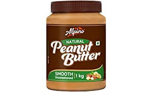 Alpino Natural Peanut Butter Smooth 1 KG (Unsweetened / Gluten Free / Non-GMO / Vegan)