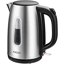 Aicok Electric Kettle Fast Boil 1.7 L 3000W Kettle, Brushed Stainless Steel Jug Kettle, Cordless Kettle with Auto Shut-off and Boil-dry Protection, Silver