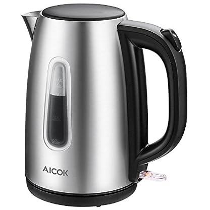 Aicok-Wasserkocher-Edelstahl-Elektrischer-Wasserkocher-Schnellwasserkocher-Automatische-Abschaltung-und-kochendem-Trockenschutz-Polierte-und-Kabellose-Teekanne-2200-watt-17L-Silber