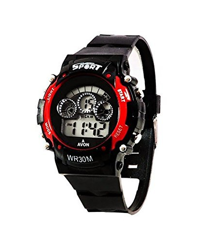 Montres Digital Red 7 Lights Black Watch For Boys_Mw 7 Light 002