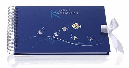 Rössler Papier Fotoalbum/Gästebuch für Konfirmation (60 weiße Seiten, 30 Blatt, 25 x 18 cm) blau mit Beschriftung
