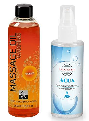 Massage Set Massageöl Sexöl Erotiköl Öl Körperöl OIL WARM (250ml) ein wasserbasiertes Gleitgel Gleitmittel (100 ml) von Feuchtalarm für Vorspiel Intim-Bereich Vagina Penis Body Sex Erotik -