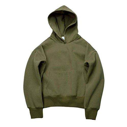 Bluestercool Felpa Con Cappuccio Unisex Tinta Unita Sweatshirt Maniche Lunghe Hoodie Verde