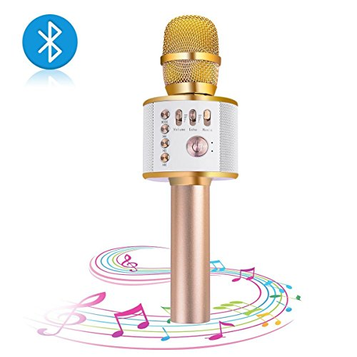 XWZG® Mikrofon, Funkmikrofon Karaoke Mini Bluetooth Handsprechanlage/Q9 Karaoke Stereo Player für Musikwiedergabe, Mini Home KTV Karaoke für Apple iPhone Android Smartphone Oder PC (Q9 Goldern)