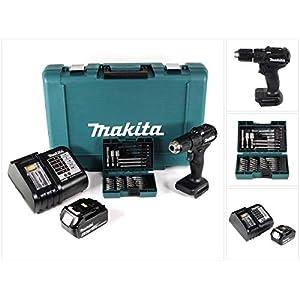 Makita DHP 483 ST1B Akku Schlagbohrschrauber 18V 40Nm Schwarz im Koffer + 38tlg. Bit-Bohrer-Set + 1x 5,0Ah Akku…
