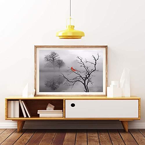 yhyxll Arte Moderna Paesaggio Stampe HD Pittura a Olio Famiglia Decorazione murale Senza Cornice Cardinale Rosso Uccello Tela 30X40CM