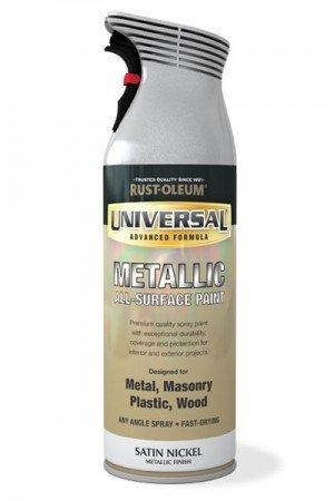 Nickel-5-spray (Rust-Oleum Universal Sprühfarbe für alle Oberflächen, Bronze antik, 400ml, Satin Nickel - Metallic, 5-teilig)
