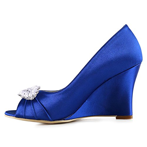 ElegantPark WP1547 Escarpins Femme Talon Compense Satin Bijou Mobile Diamant Fleur AF01 Chaussures de Soiree AW Bleu