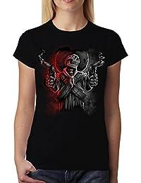 e2674f49e3d447 avocadoWEAR Crâne Tête de Mort Mafia Armes Femme T-Shirt M-3XL Nouveauté