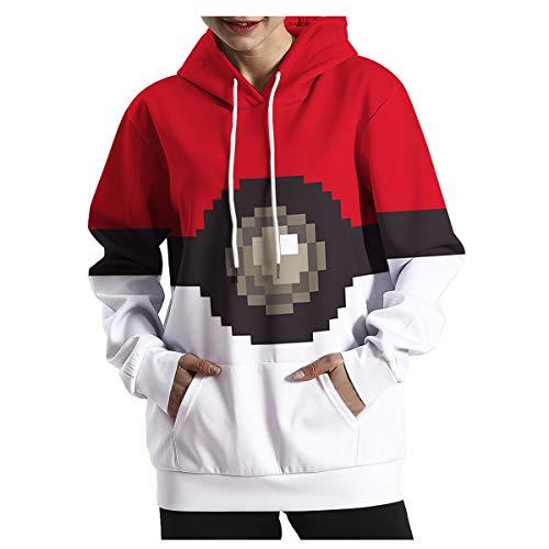 chen Frühling Pokémon Ballmuster Lose Große Größe Kapuzenpullover Hoodies Pullover Pullover Baseball-Kleidung,Pictured-S/M ()